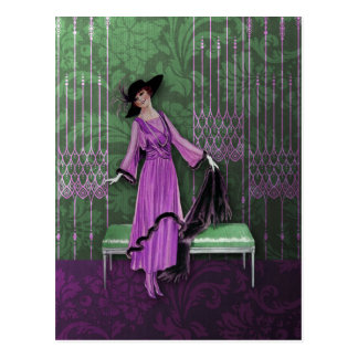 1913 Luxe: Vintage Mode in Groene Sering en Munt Briefkaart