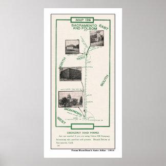 1914 Kaart, Sacramento aan Folsom Poster