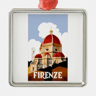 1930 het Poster van de Reis van Florence Italië Zilverkleurig Vierkant Ornament