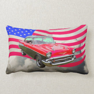 1957 het Bel Air van Chevrolet en Amerikaanse Vlag Lumbar Kussen