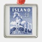1958 de Ijslandse Postzegel van het Paard Zilverkleurig Vierkant Ornament