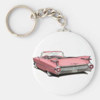 1959 de Roze Auto van Cadillac Basic Ronde Button Sleutelhanger