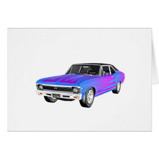1968 AM de Auto van de Spier in Paars en Blauw Wenskaart
