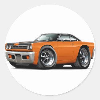 1969 de kap-Bovenkant van de oranje-Zwarte Ronde Sticker