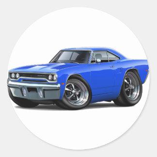 1970 Blauwe Auto Roadrunner Ronde Sticker