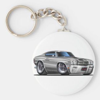 1970 de Auto van de zilveren-Zwarte Chevelle Sleutelhanger