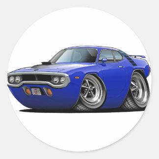 1971-72 de Auto van de blauw-Zwarte Roadrunner Ronde Sticker