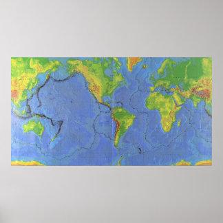 1994 de Fysieke Kaart van de Wereld - Tectonische Poster