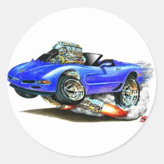 1998-2004 Blauwe Convertibel van het Korvet Ronde Sticker