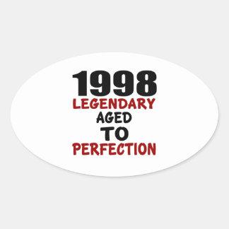 1998 LEGENDARISCHE OUD AAN PERFECTIE OVAALVORMIGE STICKER