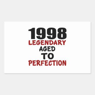 1998 LEGENDARISCHE OUD AAN PERFECTIE RECHTHOEK STICKER