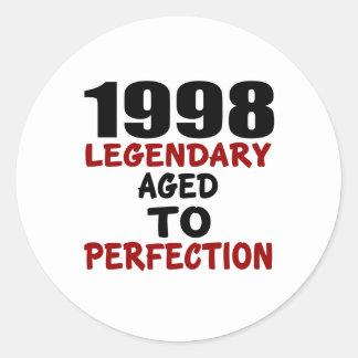 1998 LEGENDARISCHE OUD AAN PERFECTIE RONDE STICKERS