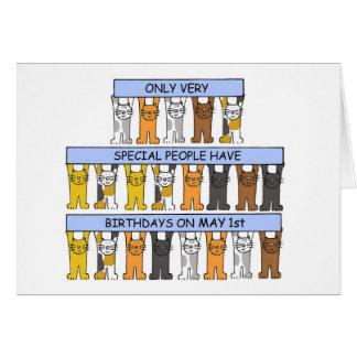 1 de Katten van de Verjaardag van mei Kaart