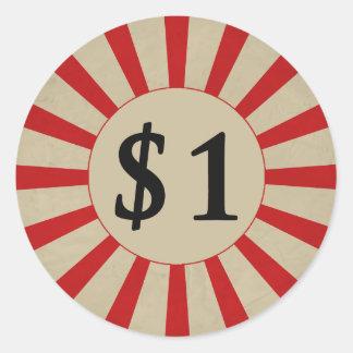 $1 (Dollar) Rond Glanzend Prijskaartje Ronde Sticker