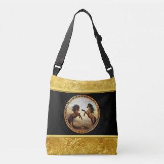 1 gouden lijstpaarden crossbody tas