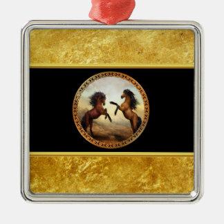 1 gouden lijstpaarden zilverkleurig vierkant ornament