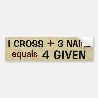 1 het kruis plus 3 Spijkers evenaart Vergeven Bumpersticker