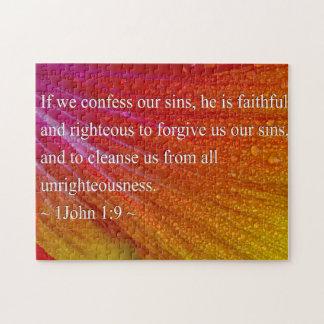 1 John 1:9 op Kleurrijke Hibiscus Legpuzzel