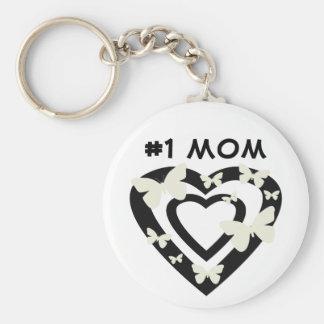 #1 mamma, open harten, witte vlinders sleutelhanger