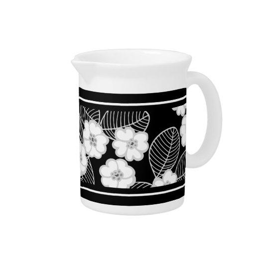 1 Wit van het Damast van de waterkruik het Bloemen Drink Pitchers