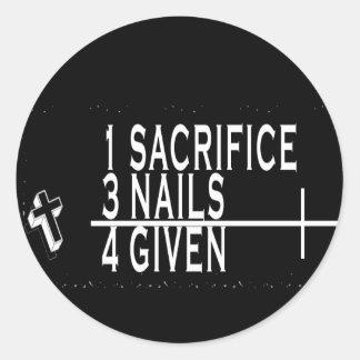 1SACRIFICE + 3 SPIJKERS = 4GIVEN CHRISTELIJKE RONDE STICKER