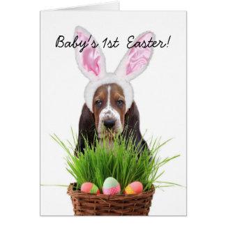 1st Pasen Basset Hound van de baby Kaart