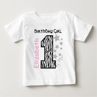 1st Verjaardag Gestreepte de Naam van de Douane Baby T Shirts