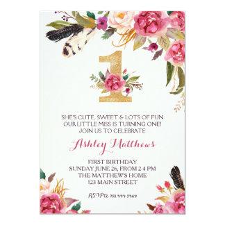 1ST verjaardags EERST Mooie BloemenUitnodiging, 12,7x17,8 Uitnodiging Kaart