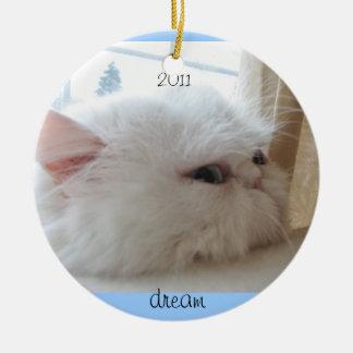 2011 de Droom van het Kat van Kerstmis Rond Keramisch Ornament