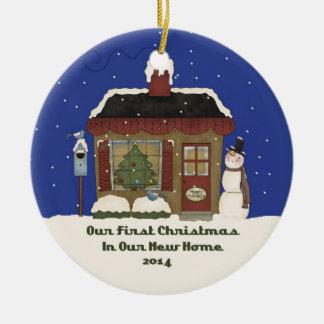 2014 de Nieuwe Cabine van de Sneeuwman van Rond Keramisch Ornament