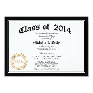 2014 de Partij van de Afstuderen van het Diploma 12,7x17,8 Uitnodiging Kaart