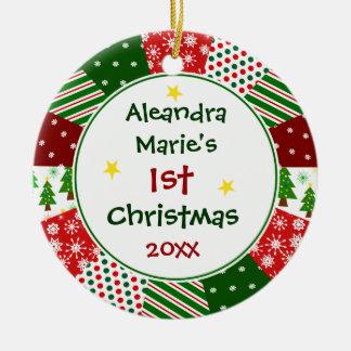 2016 1st Kerstmis van Uw Baby de Foto en Rond Keramisch Ornament