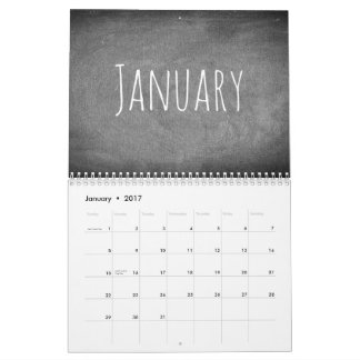 2017 de Zwart-witte Tekst van de Kalender van het