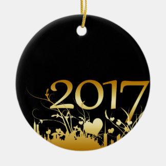 2017 Nieuwjaar Grafisch Rond Keramisch Ornament