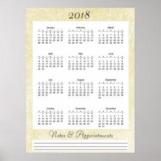 2018 het Room gekleurde Poster van de Kalender