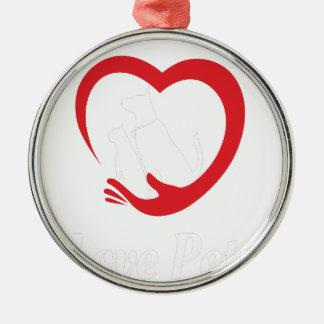 20 Februari - houd van Uw Dag van het Huisdier Zilverkleurig Rond Ornament