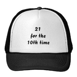 21 voor de 10de keer. 30ste Verjaardag. Zwart Wit Petten Met Netje
