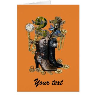 21ste birtday meisje - laarzen Steampunk Wenskaart