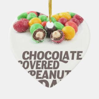 25 Februari - de chocolade-Behandelde Dag van Keramisch Hart Ornament