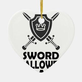 25 Februari - de Dag van Swallower van het Zwaard Keramisch Hart Ornament
