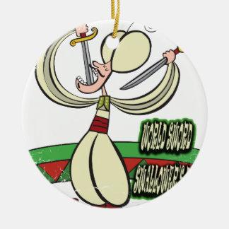 25 Februari - de Dag van Swallower van het Zwaard Rond Keramisch Ornament