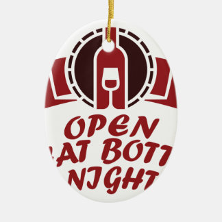 25 Februari - open Die Nacht van Fles Keramisch Ovaal Ornament