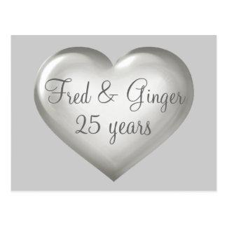 25 jaar zilveren glas en witte hartverjaardag briefkaart