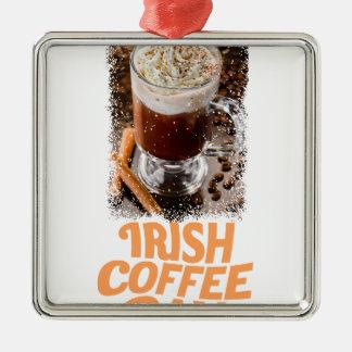 25 Januari - de Dag van de Irish coffee Zilverkleurig Vierkant Ornament