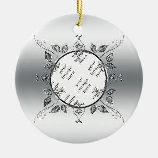 25ste Foto | van het Jubileum van de Zilveren Rond Keramisch Ornament