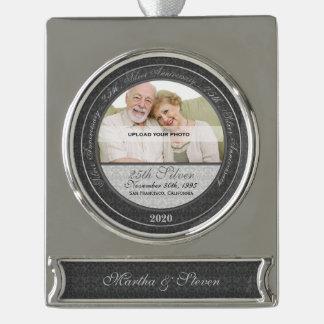 25ste Jubileum | van de Zilveren bruiloft het Verzilverd Banner Ornament
