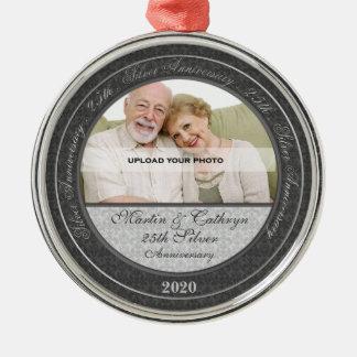 25ste Jubileum | van de Zilveren bruiloft het Zilverkleurig Rond Ornament