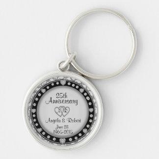25ste Jubileum Zilveren Keychain Sleutelhanger