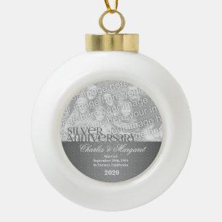 25ste Zilveren bruiloft Annivsersary   Ornament Keramische Bal Ornament