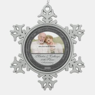 25ste Zilveren bruiloft Annivsersary   Ornament Tin Sneeuwvlok Ornament